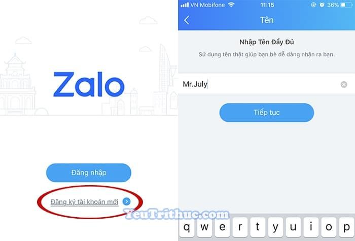 Cách đăng ký tạo tài khoản nick Zalo trên iPhone chạy iOS 3