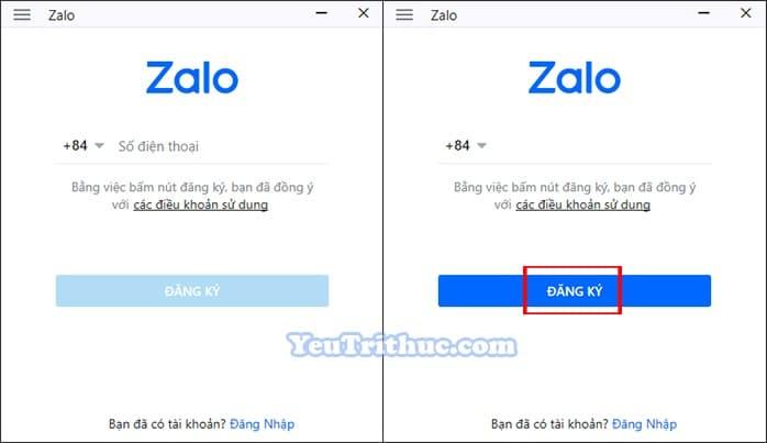 Cách đăng ký tạo tài khoản Zalo trên máy tính PC, laptop Windows 1