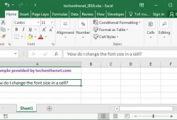 Cách thay đổi kích thước văn bản Font Size trên Excel 2016 1