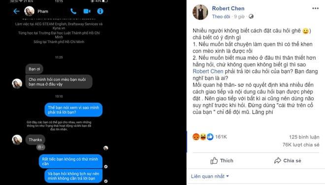 Robert Chen là ai, chàng trai dạy đời cô gái hỏi mua mèo Facebook2