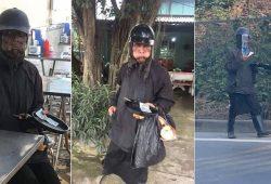 Sự thật Ăn xin bôi mặt đen áo ninja, cầm đầu gà, mồm ngậm 1